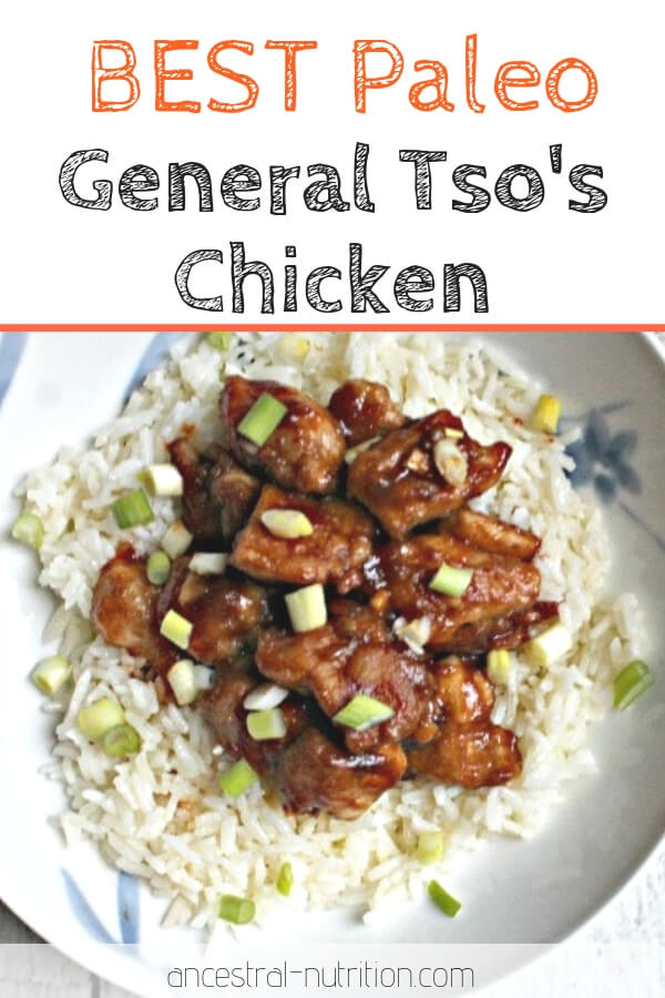 Paleo General Tso's Chicken - craving takeout? Make this easy chicken dinner instead! It's healthy, gluten-free, Chinese food that's perfect for dinner or as leftovers for lunch! #paleorecipes #chicken