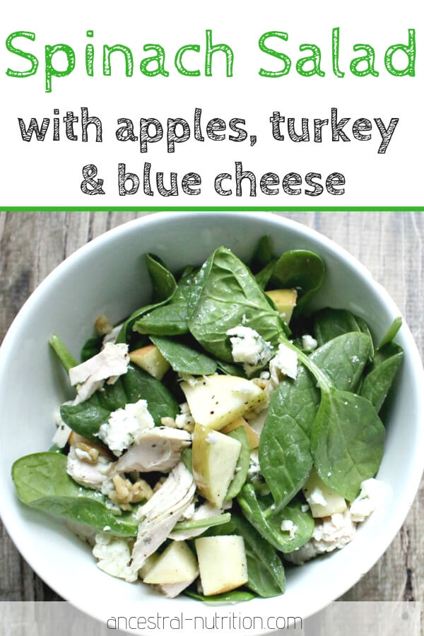 Healthy Spinach Salad with Turkey, Apples and Blue Cheese | the perfect recipe for using up leftover Turkey from the holidays! An awesome lunch salad to incorporate into your meal prep routine #salad #mealprep