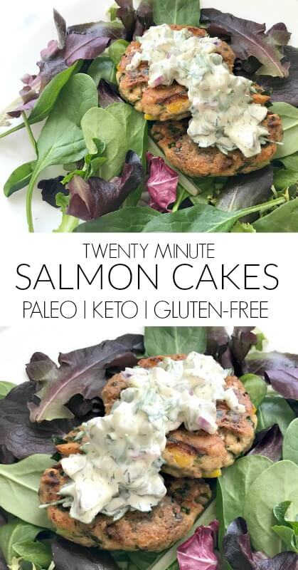 Salmon Cakes | These paleo, keto, low-carb and gluten-free salmon patties are perfect for dinner and make great leftovers for lunch - a great meal prep recipe, too #keto #paleo