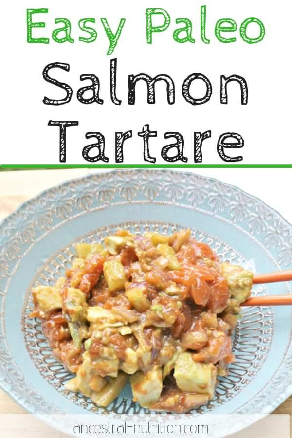 This easy paleo salmon tartar with cucumbers and avocado is perfect as a healthy appetizer or light lunch! Serve it as is or with rice. #appetizer #easyrecipes