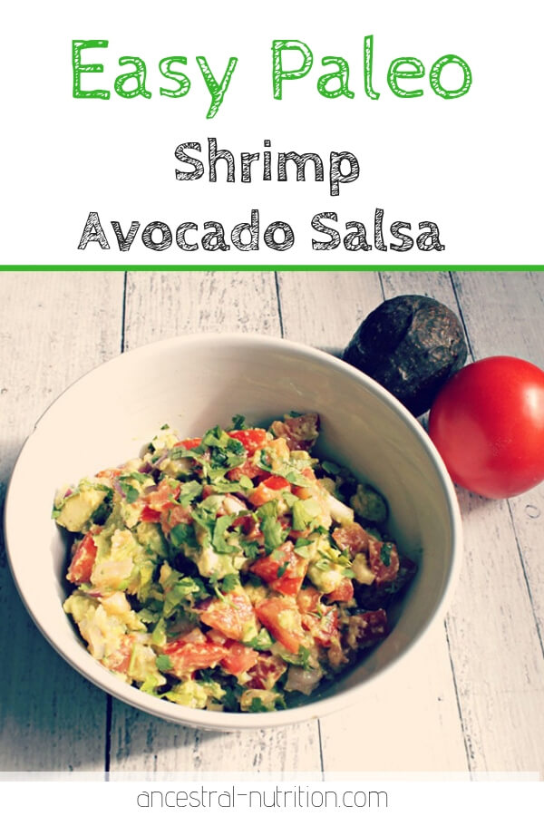 This Mexican Shrimp & Avocado Salsa is so easy to throw together and it's a super nutrient dense light meal or appetizer! #appetizer #paleo