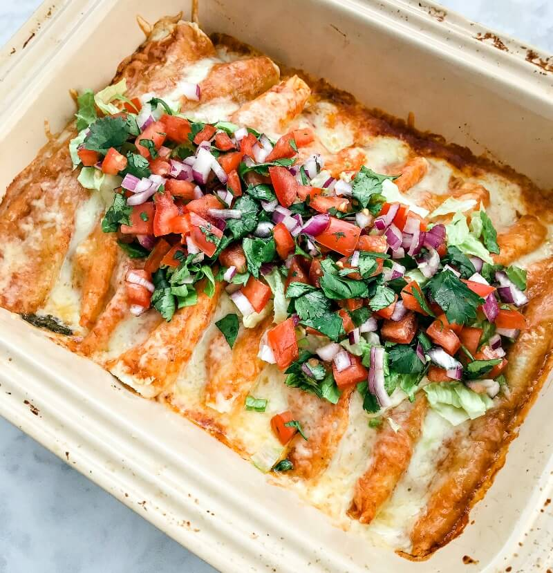 overhead shot of a casserole with gluten-free beef enchiladas