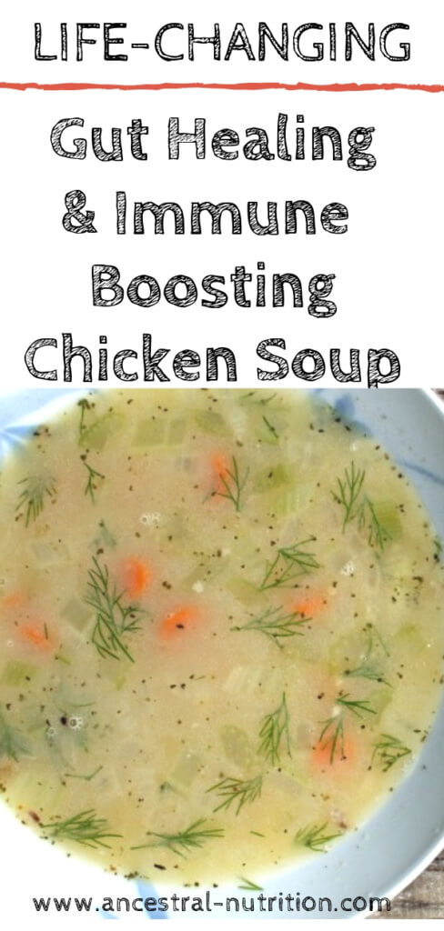 Gut Healing Immune Boosting Chicken Soup | This is the easiest and most delicious paleo chicken soup recipe ever and it comes with added health benefits! Eat it straight, drink it or use it as a base for stews #soup #cleaneating