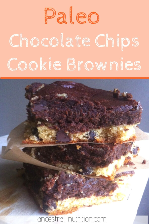 These  paleo chocolate chips cookie brownies are super easy to make and taste simply divine! They were pretty dense and gooey too, which I love!
