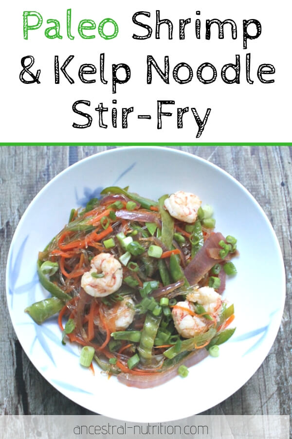 This easy Shrimp & Veggie Kelp Noodle Stir fry is a great option if you need to cook something quickly. A bunch of veggies, along with kelp noodles (which are freaking AMAZING in Asian dishes) in a stir fry sauce. It's paleo, gluten-free and really, really good. #paleo #dinner
