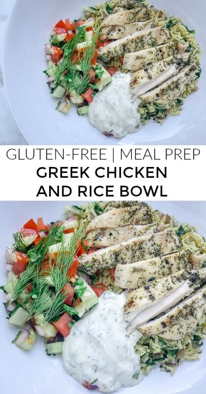 This Greek chicken and rice bowl is gluten-free with a paleo and keto option, easy to throw together and incredibly delicious. It's perfect for dinner or you can meal prep it to have lunch throughout the week! #paleo #bowl #chickendinner #mealprep