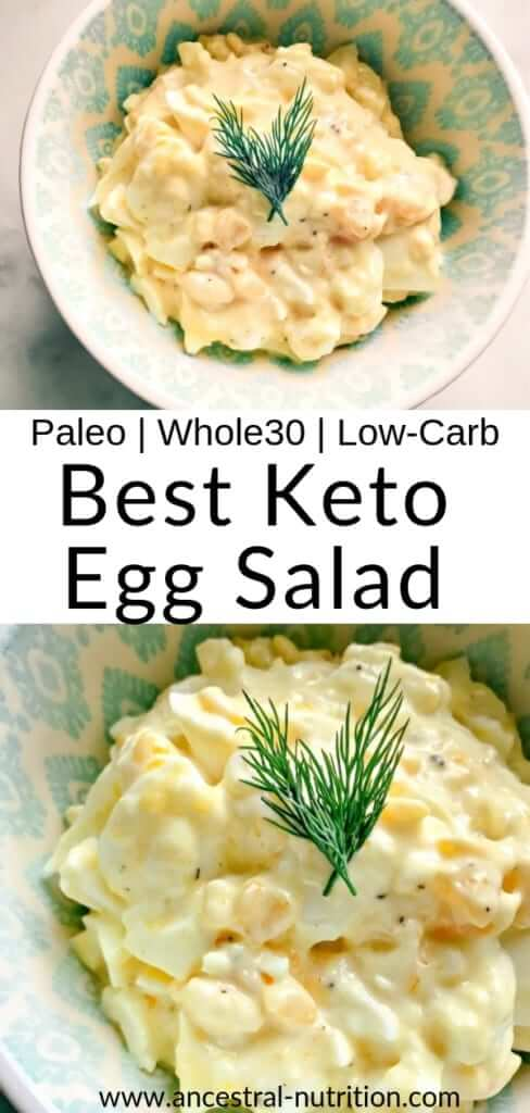 This egg salad is probably the easiest egg salad you'll ever encounter, not to mention incredibly healthy. It takes all of ten minutes, is paleo, keto and Whole30 friendly. Plus it makes the perfect lunch or quick snack full of protein! #keto #paleorecipes #whole30 #lowcarbrecipes