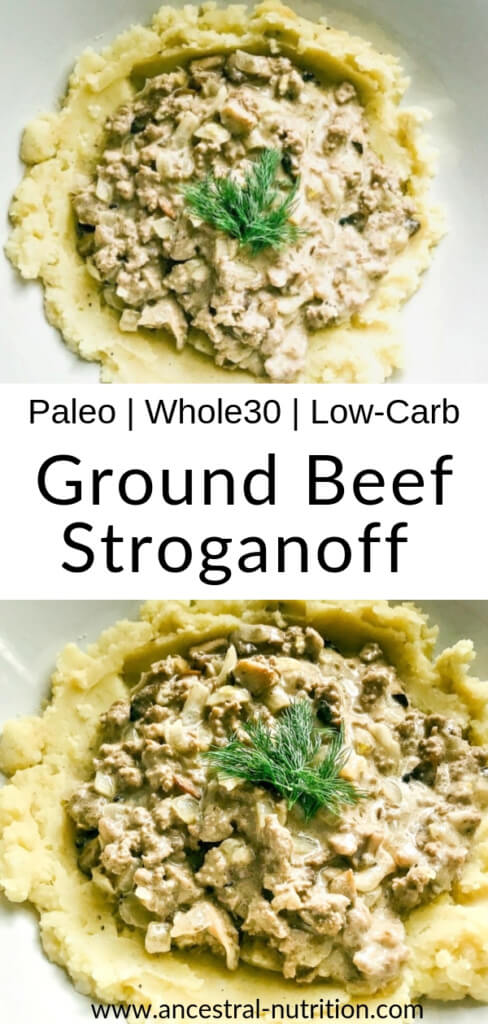 This easy ground beef stroganoff is a quick, cheap and easy weekight meal thanks to swapping steak for budget ground beef! Plus it's paleo, whole30 and low-carb - the perfect simple recipe for your healthy meal prep! #lowcarb #paleorecipes #ketorecipes #russianfood