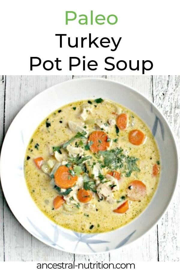 This Turkey Pot Pie Soup is filled with good protein and fiber-rich veggies, making it a healthy and nourishing meal. You might already have all the necessary ingredients in your fridge! The combination of bone broth and cream lends this simple comforting soup a wonderful creaminess without being too rich and heavy! #paleo #potpie #turkeyrecipes #cleaneating #paleorecipes