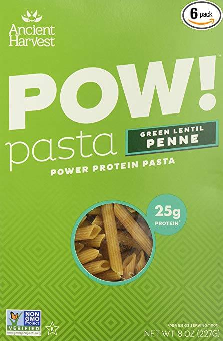 a box of pow gluten-free green lentil penne pasta