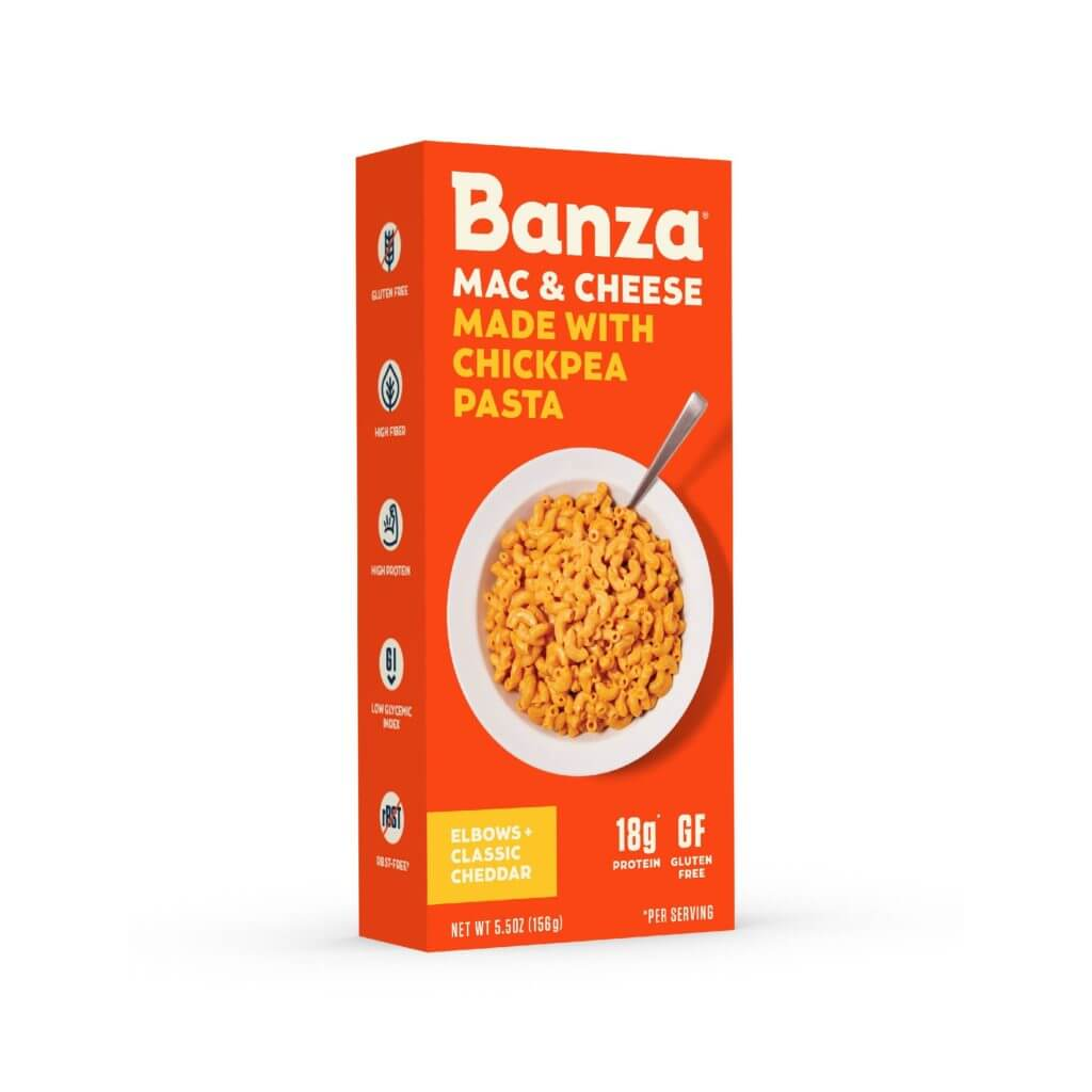 a box of Banza Mac and Cheese Gluten-free Chickpea Pasta