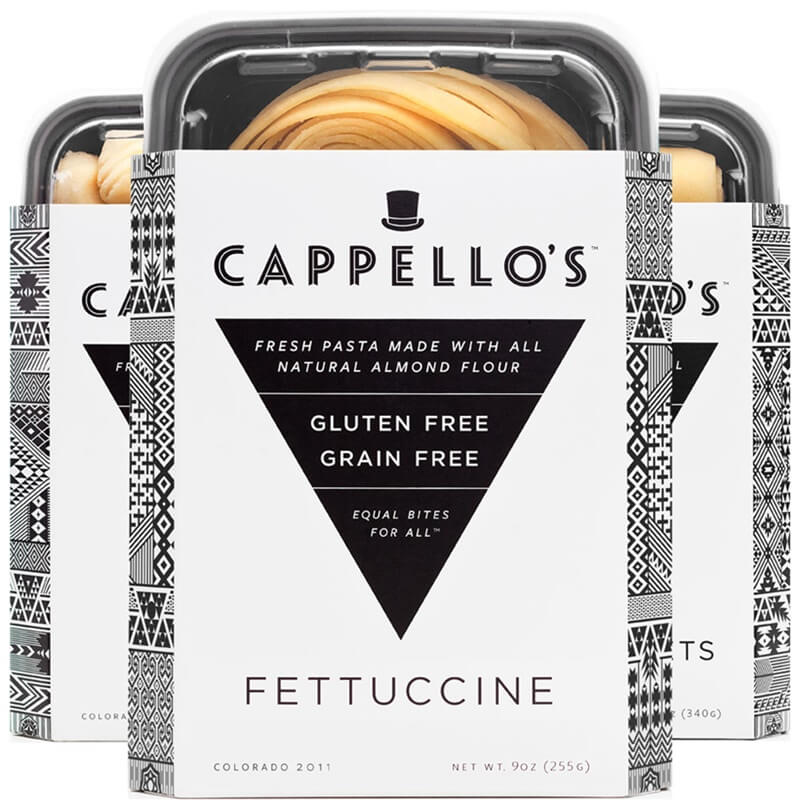 three boxes of differently shaped gluten-free almond flour pastas by cappellos