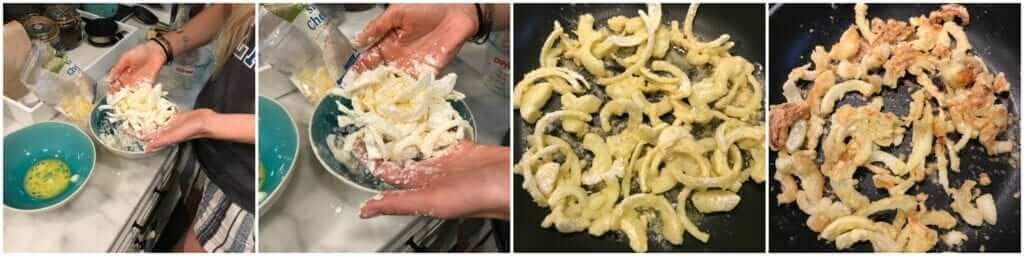picture collage demonstrating how to make healthy gluten-free crispy onion topping for a healthy green bean casserole recipe
