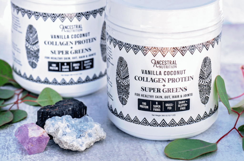 two tubs of Ancestral Nutrition Collagen Protein + Super Greens Powder for Stretch Mark Prevention