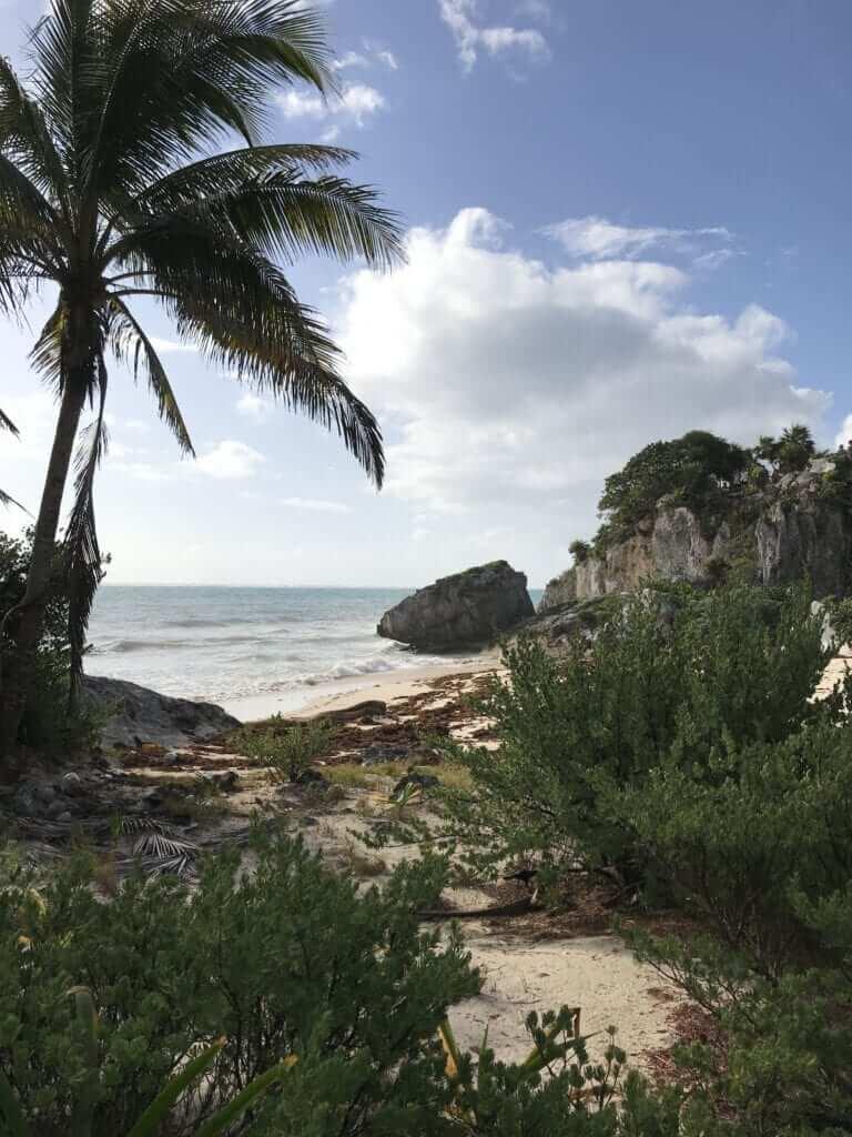 shot of Tulum Beach near the Mayan ruins