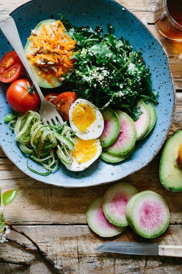 overhead shot of a plate loaded with healthy food like eggs avocado and spinach
