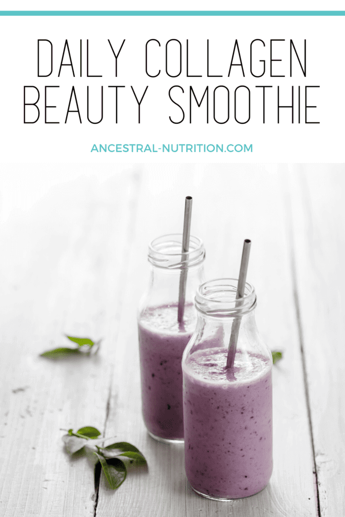 Make this daily collagen smoothie with berries, kale and chia seeds part of your beauty routine! A healthy, delicious and energizing way to start your morning. Loaded with nutrients that are great for your gut, skin, hair, joints and bones! #collagen #smoothie #naturalbeauty #skincare #smoothierecipes