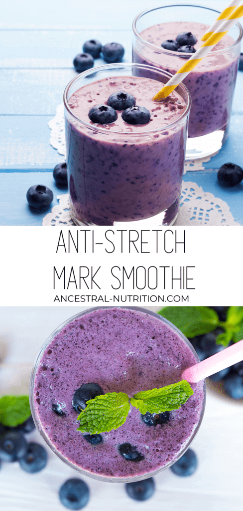 Want to learn how to prevent stretch marks? Start with diet and nutrition! I drank this anti-stretch mark smoothie daily for preventing stretch marks during pregnancy effectively. It works from the inside out to keep you and your skin happy, smoothie, wrinkle-free and healthy! #smoothierecipe #beauty #stretchmarks #easyrecipes #collagen