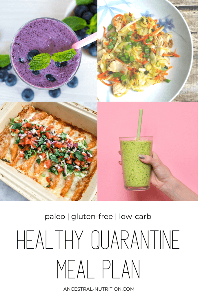 This quarantine is the perfect time to stay home, cook healthy meals and boost your immune system with nutritious food! Start with this healthy quarantine meal plan with recipe ideas for breakfast, lunch and dinner - all family friendly, low-carb, gluten-free and paleo #mealplan #diet #nutrition #quarantine #mealprep