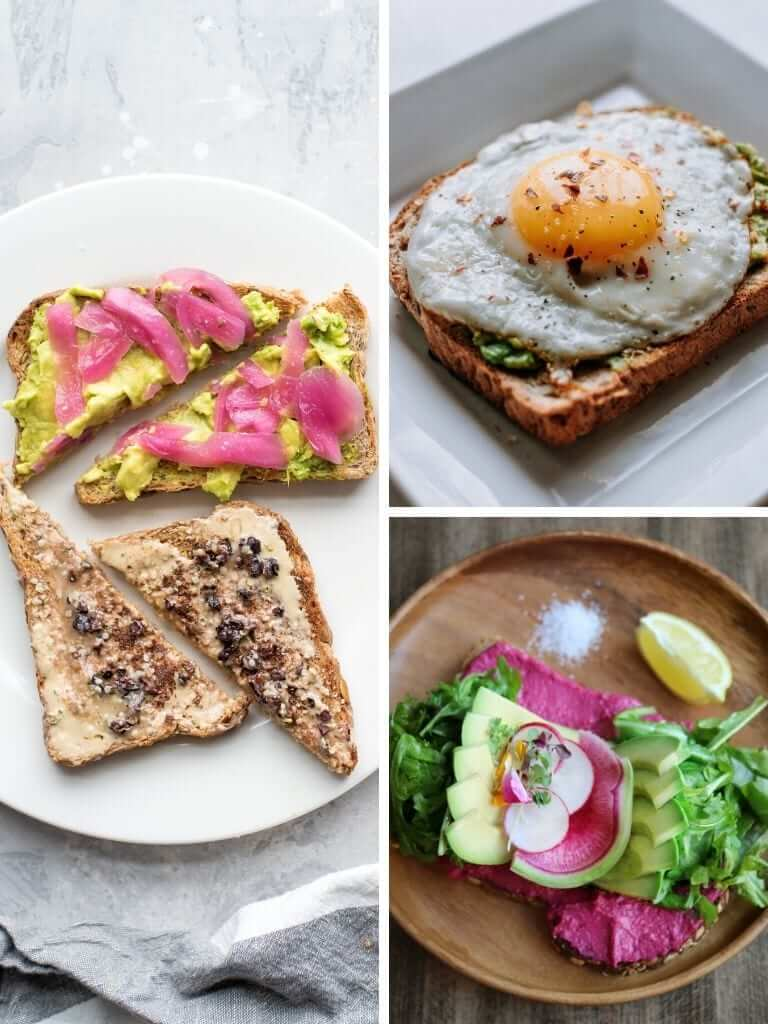 picture collage of healthy toast breakfast options