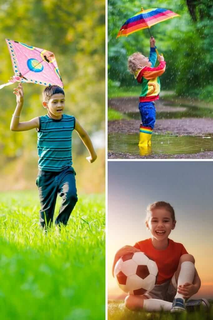 a picture collage of outdoor activities for kids