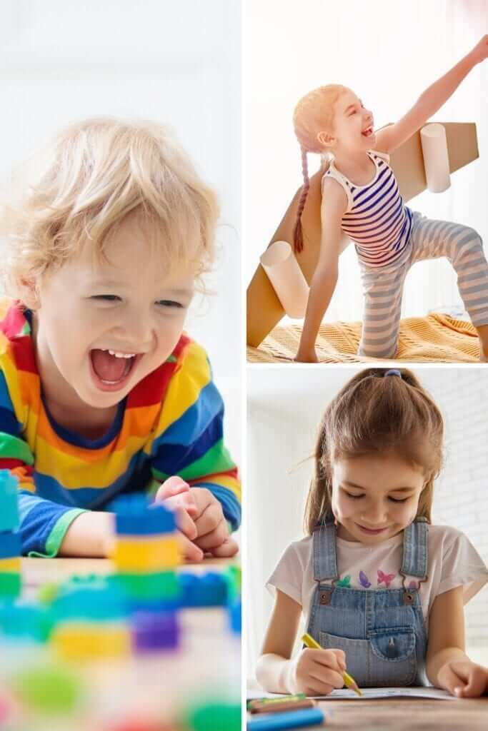a picture collage of different indoor activities to do with quarantined kids